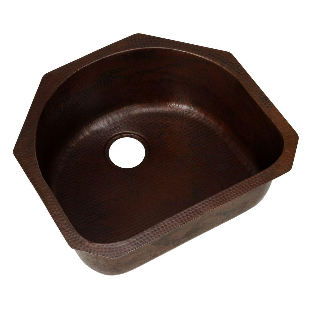 SINKOLOGY Pinnacle Undermount Handmade Pure Solid Copper 23-1/2 in. 0-Hole Single Basin Copper Kitchen Sink in Aged Copper