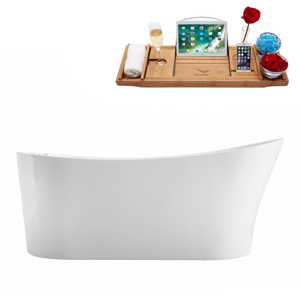 66.9 in. Acrylic Flatbottom Non-Whirlpool Bathtub in White