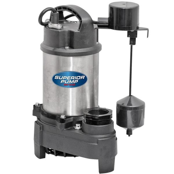 Superior Pump 3/4 HP Submersible Stainless Steel-Cast Iron Sump Pump
