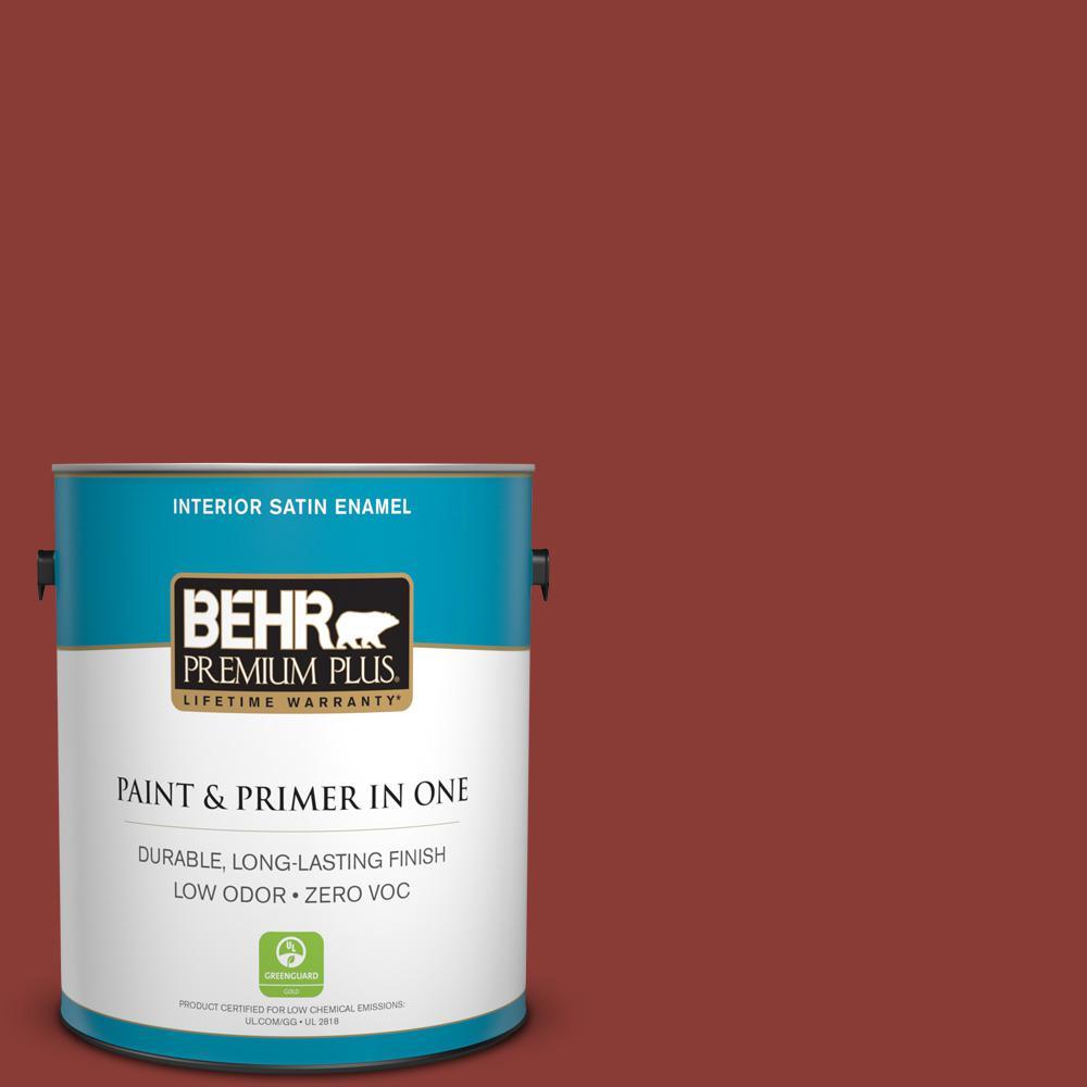 BEHR Premium Plus 1-gal. #ppf-30 Deep Terra Cotta Zero VOC Satin Enamel Interior Paint, Reds/Pinks