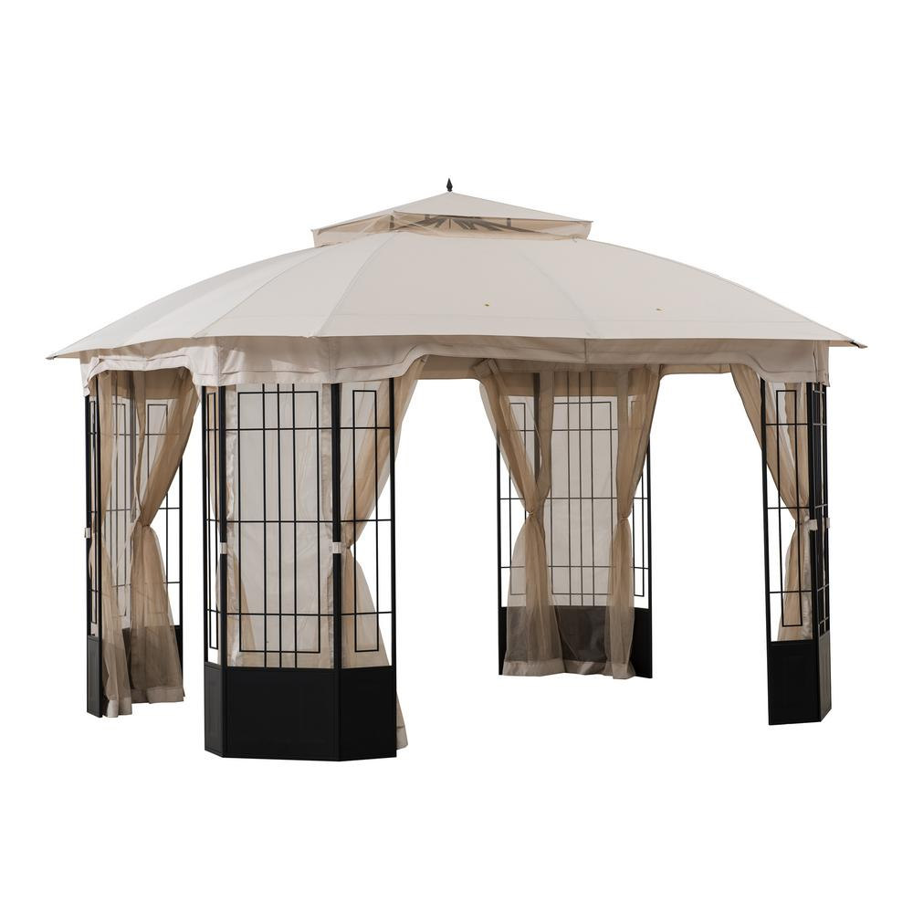 Sunjoy Harlem 10 Ft X 12 Ft Steel Gazebo With Beige Canopy A101012500 The Home Depot