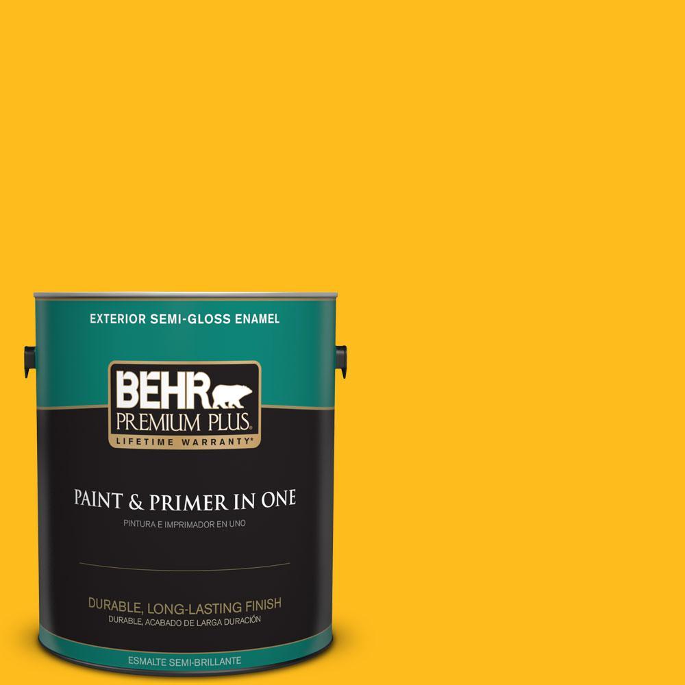 BEHR Premium Plus 1-gal. #P290-7 Laser Lemon Semi-Gloss Enamel Exterior Paint