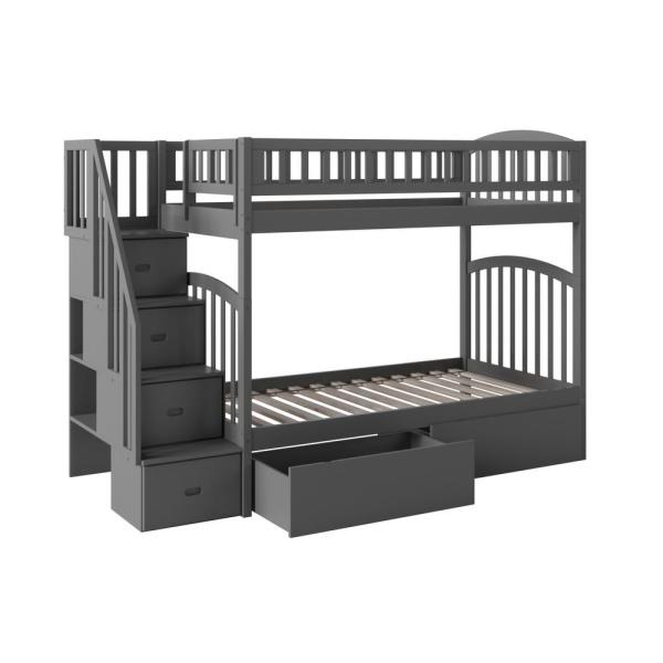 Atlantic Furniture Westbrook Grey Twin Over Twin Staircase Bunk with 2 Urban Bed Drawers