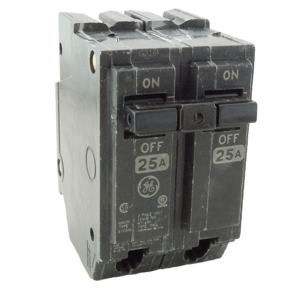 ge 2 pole breakers thql2125 64_1000 ge 25 amp 2 in double pole circuit breaker thql2125 the home depot average cost to replace fuse box with circuit breakers at suagrazia.org