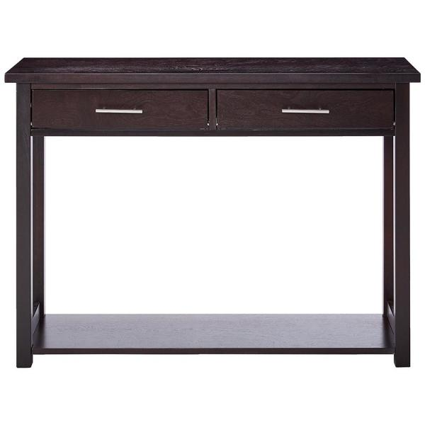 42 in. Espresso Standard Rectangle Wood Console Table with Drawers