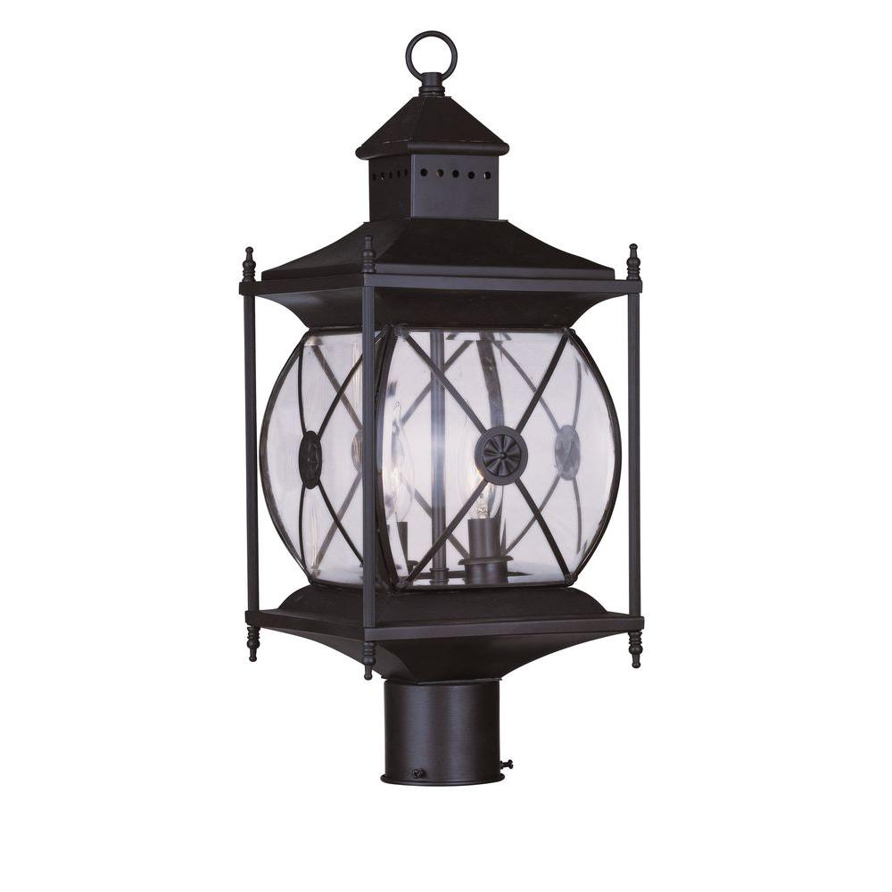 Livex 2 Light Outdoor Bronze Post Head With Clear Beveled