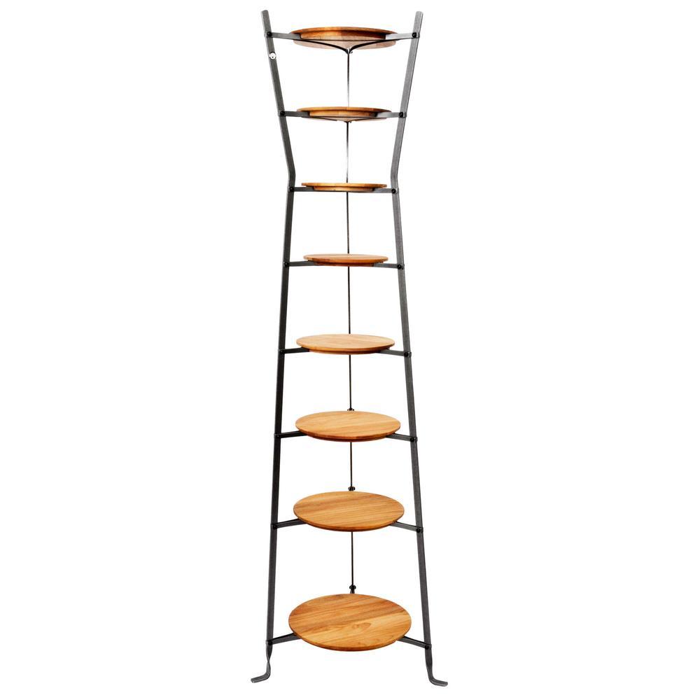 Handcrafted 8-Tier Gourmet Hourglass Cookware Stand with Alder Shelves Hammered Steel