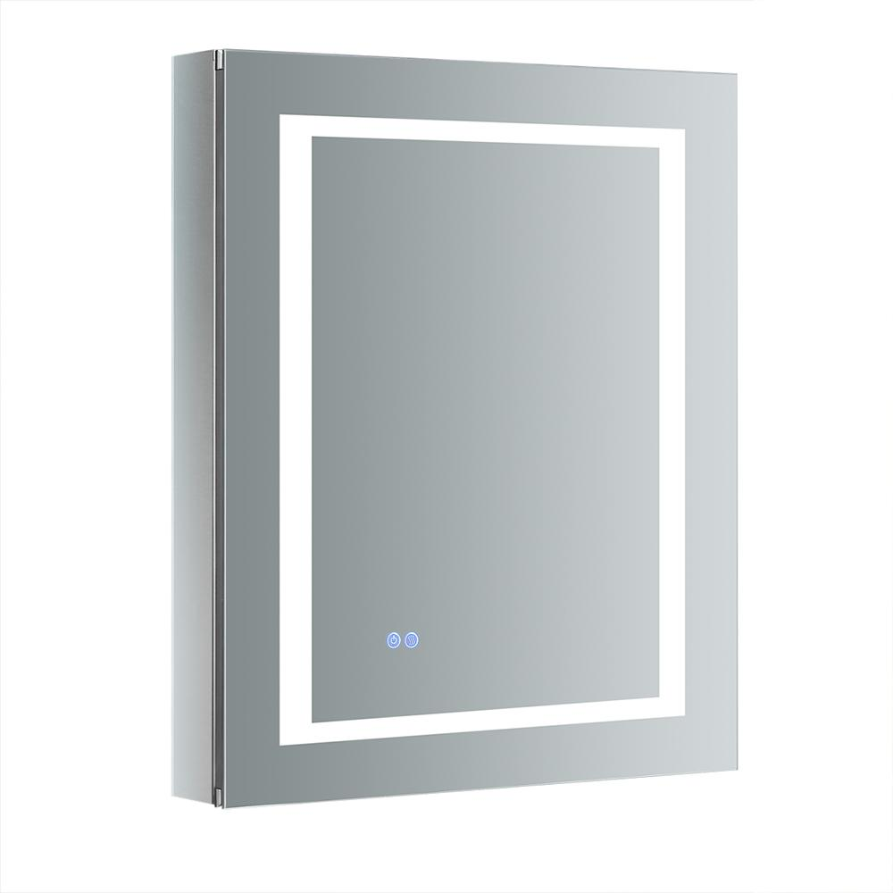 Fresca Spazio 24 in. W x 30 in. H Recessed or Surface Mount Medicine Cabinet with LED Lighting, Mirror Defogger and Right Hinge