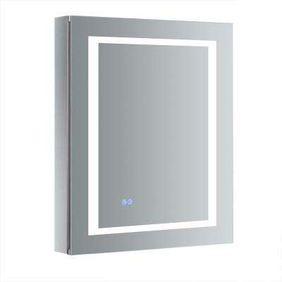 Spazio 24 in. W x 30 in. H Recessed or Surface Mount Medicine Cabinet with LED Lighting, Mirror Defogger and Right Hinge