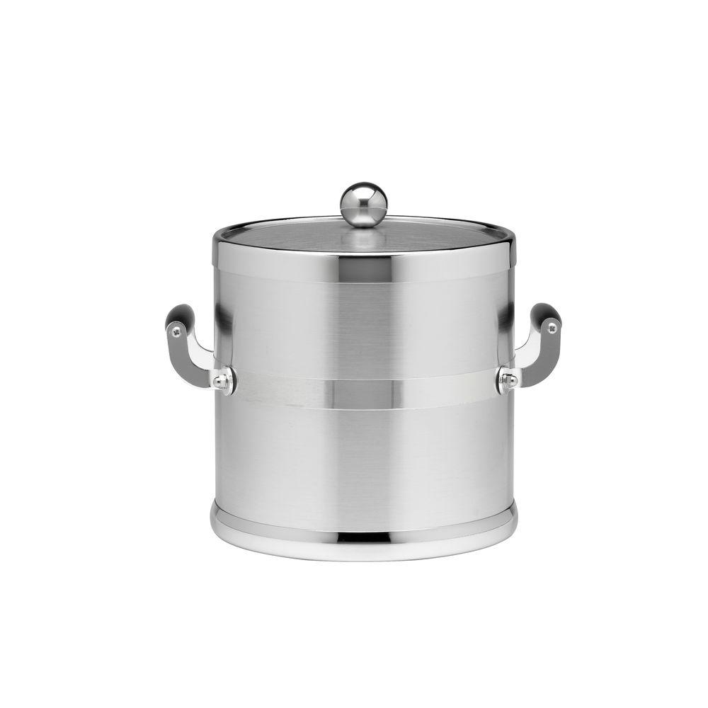 Kraftware Americano 3 Qt. Brushed Chrome Ice Bucket and Lid, Wood Side Handles