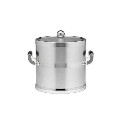 Americano 3 Qt. Brushed Chrome Ice Bucket and Lid, Wood Side Handles