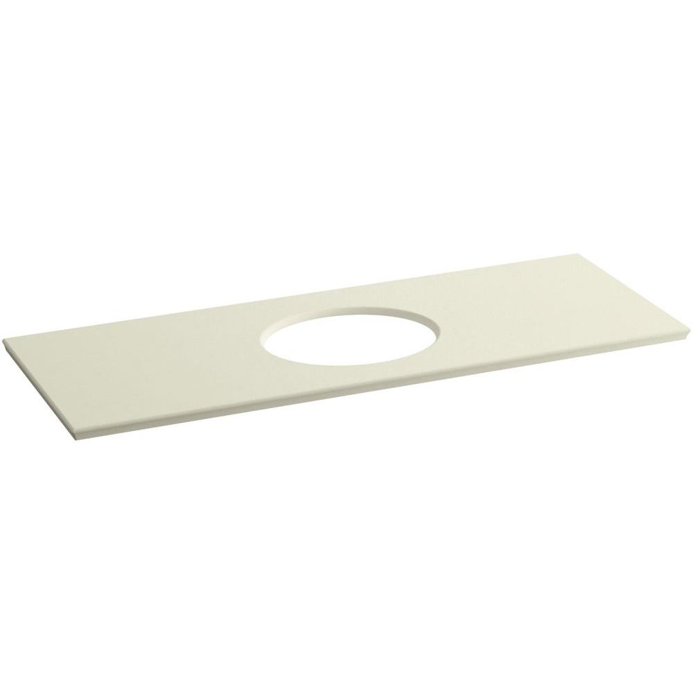 Solid/Expressions 61.625 in. Solid Surface Vanity Top in Biscuit Expressions
