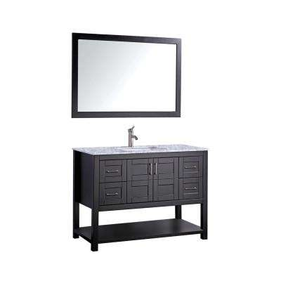 Norway 48 in. H x 22 in. D x 36 in. H Vanity in Espresso with Marble Vanity Top in White with White Basin and Mirror