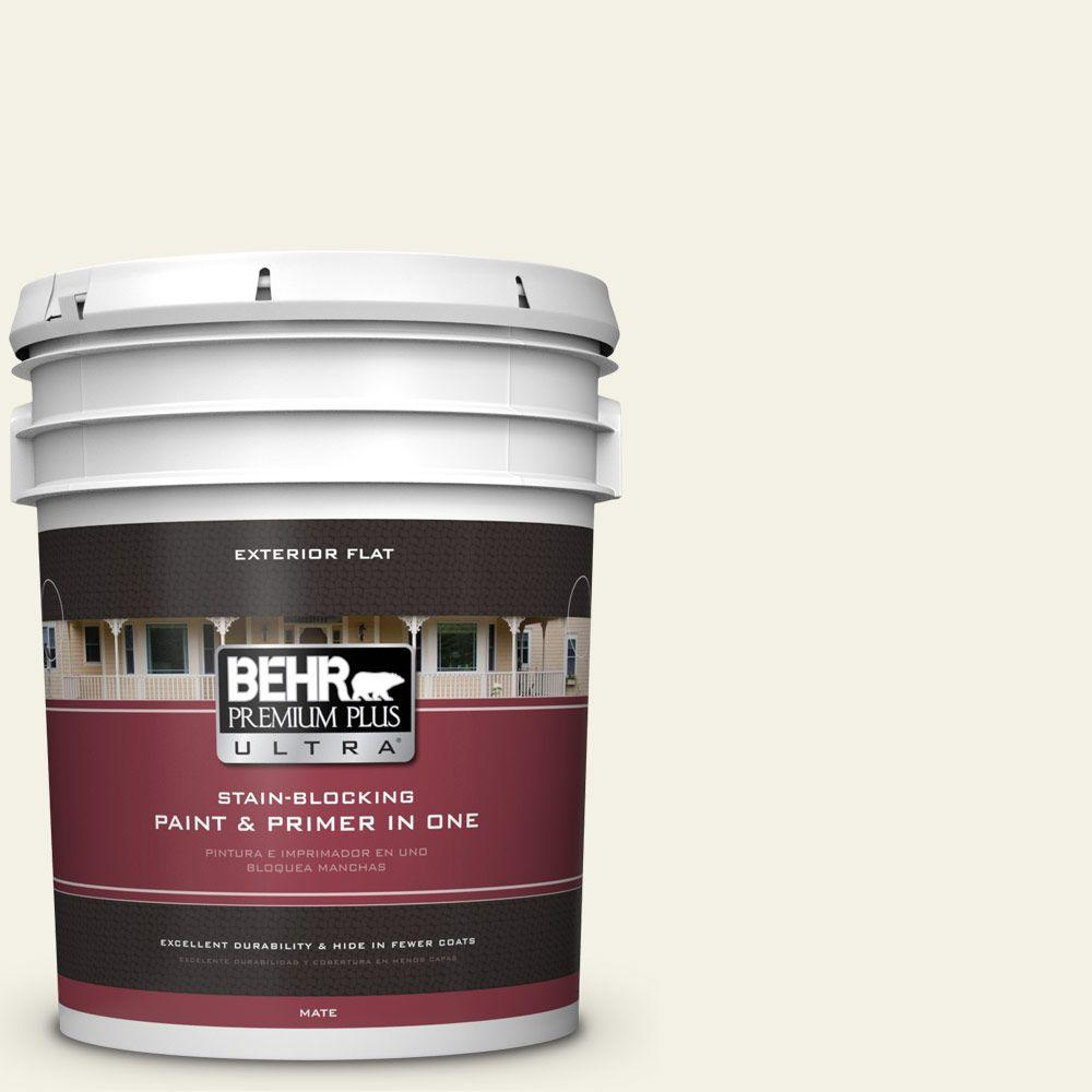 BEHR Premium Plus Ultra 5-gal. #BXC-01 Resort White Flat Exterior Paint