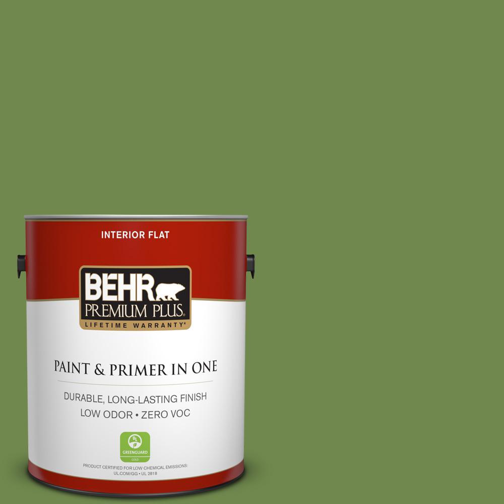 1-gal. #HDC-SM14-2 Green Suede Zero VOC Flat Interior Paint