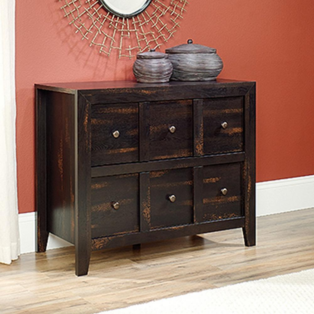 Sauder dakota pass char pine storage console table 418232 the sauder dakota pass char pine storage console table 418232 the home depot geotapseo Image collections
