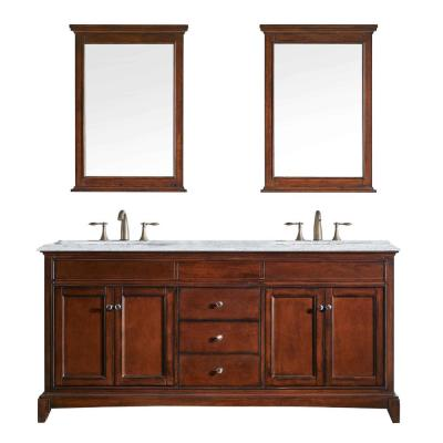 Elite Stamford 60 in. W x 23.5 in. D x 36 in. H Vanity in Brown (Teak) with Carrera Marble Top in Beige with White Basin