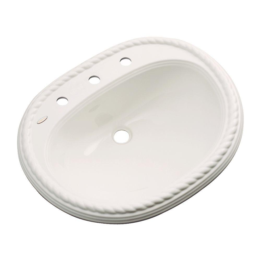 Malibu Drop-In Bathroom Sink with Faucet Hole in Almond