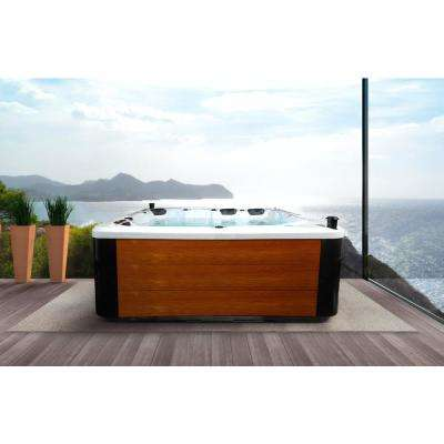 Hurricane 3-Person 81-Jet Standard Swim Spa with LED Light, Bluetooth, Wi-Fi and Aluminum Panels