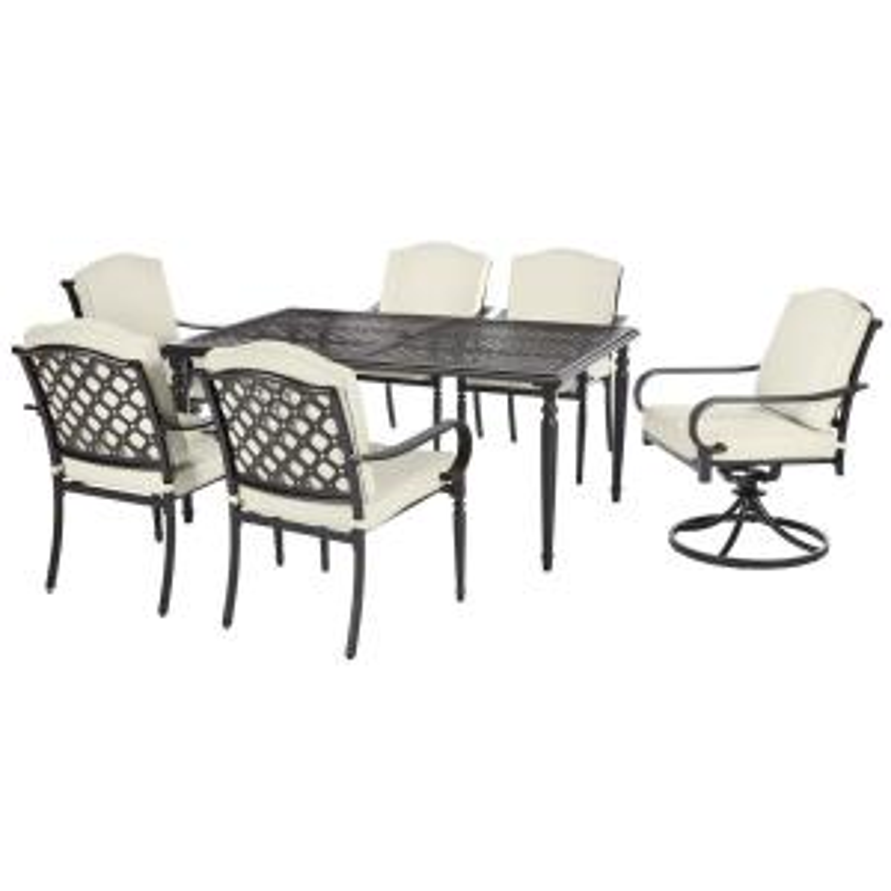 042a2e8559b Hampton Bay Laurel Oaks Black 7-Piece Outdoor Dining Set with Beige ...