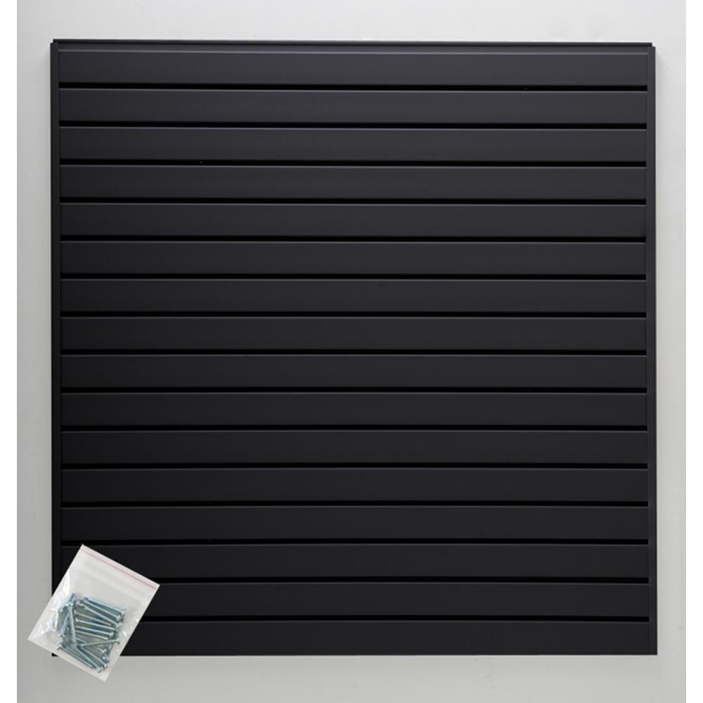 4 ft. x 4 ft. or 8 ft. x 2 ft. Black Plastic Slat Wall Kit