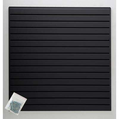 4 ft. x 4 ft. or 8 ft. x 2 ft. Black Plastic Slat Wall Kit