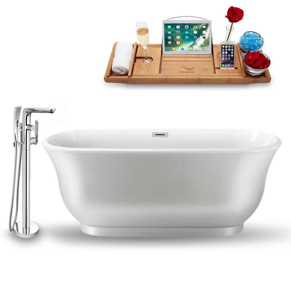 Streamline Tub Faucet And Tray Set 59 In Acrylic Flatbottom Non Whirpool Bathtub In Glossy Blue Nh662 100 Bath Enjoy Some Quality Time And Relax In This Freestan