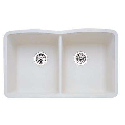 Diamond Undermount Granite Composite 32 in. Equal Double Bowl Kitchen Sink in Biscuit