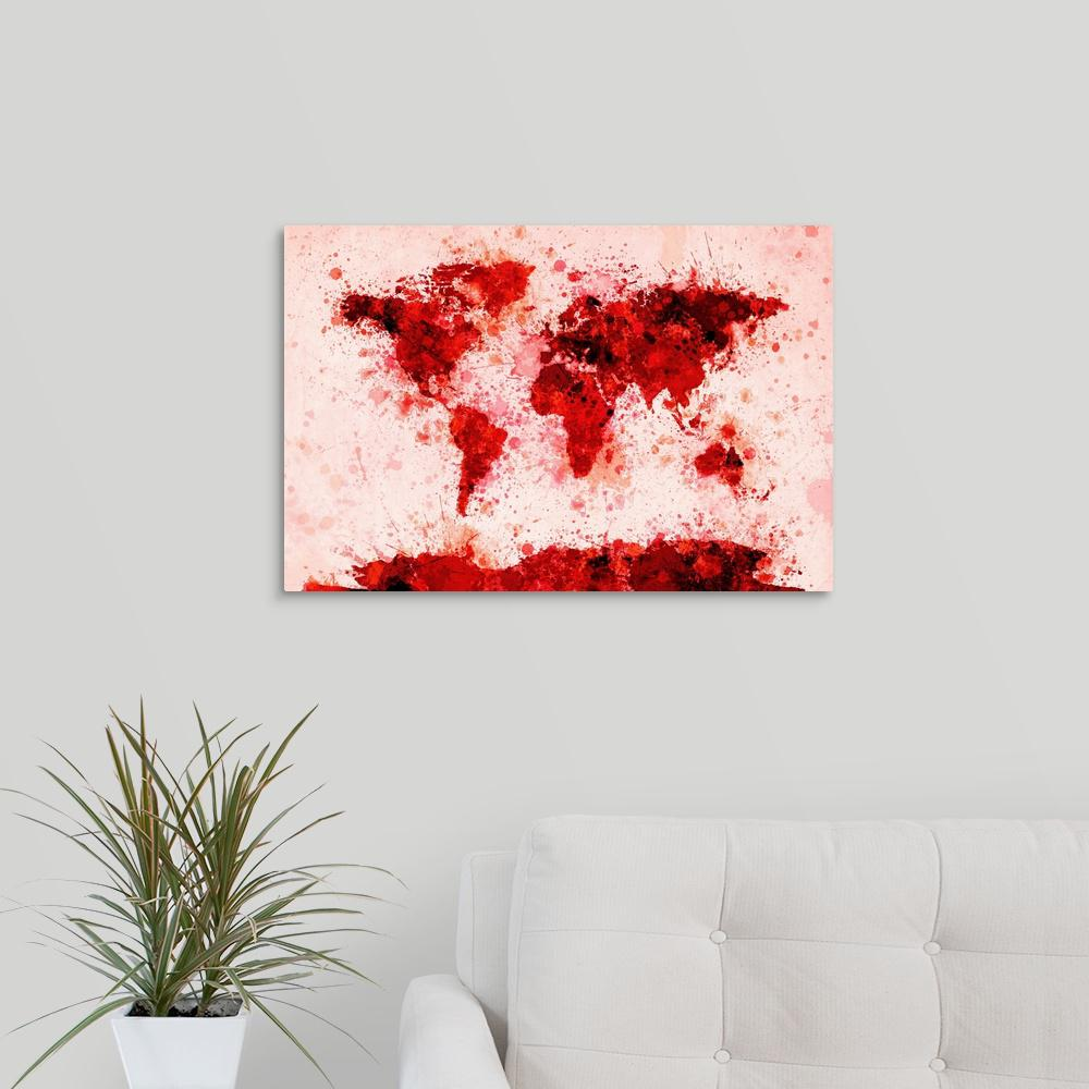 Greatbigcanvas world map paint splashes red by michael tompsett greatbigcanvas world map paint splashes red by michael tompsett canvas gumiabroncs Gallery