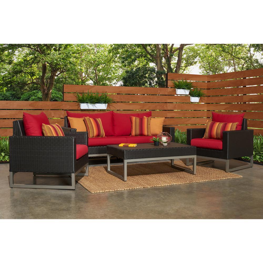 Milo Espresso 4 Piece Wicker Patio Deep Seating Conversation Set With Sunbrella Sunset Red Cushions