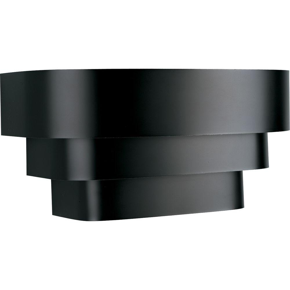 1 Light Black Wall Sconce With Metal Shade