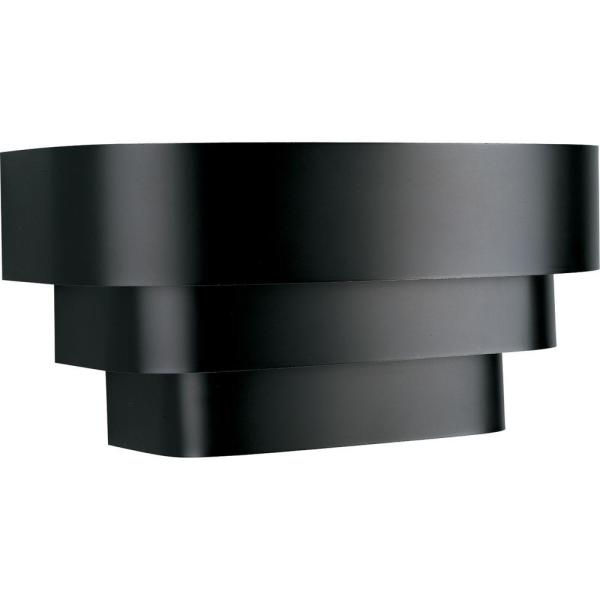 14 in. 1-Light Black Wall Sconce with Metal Shade