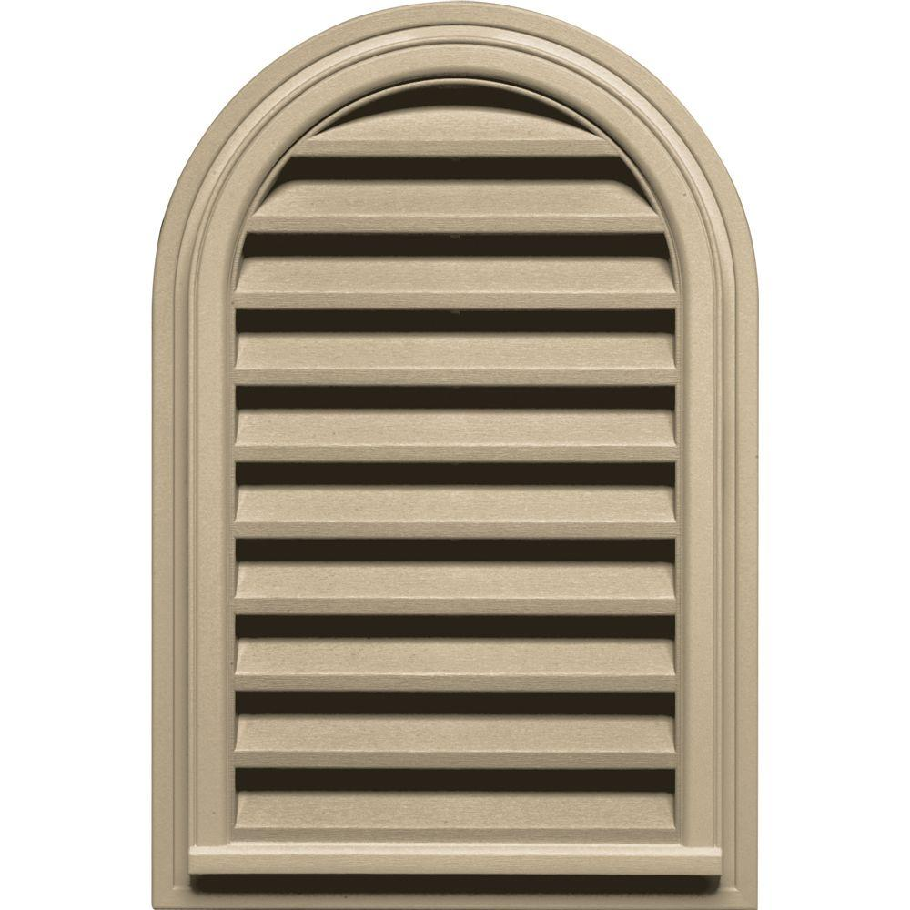 22 in. x 32 in. Round Top Gable Vent in Light