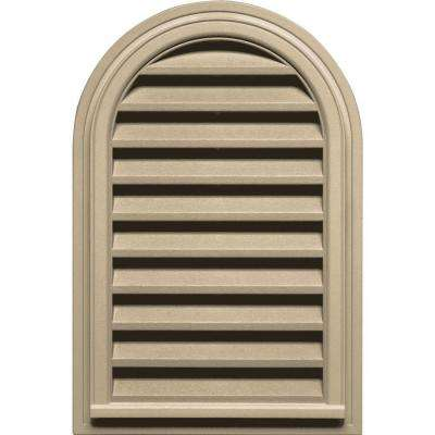 22 in. x 32 in. Round Top Gable Vent in Light Almond