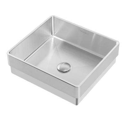 Noah Plus 15-3/4 in. Semi-Recessed Drop-In Bathroom Sink in Brushed Stainless Steel with Matching Center Drain