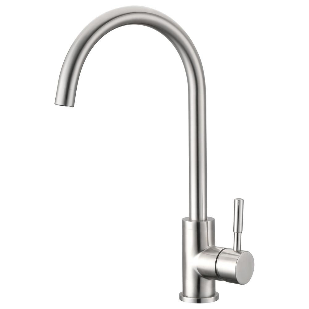 Unbranded Single Hole Single Handle Kitchen Faucet In Brushed Nickel Ypg312 The Home Depot