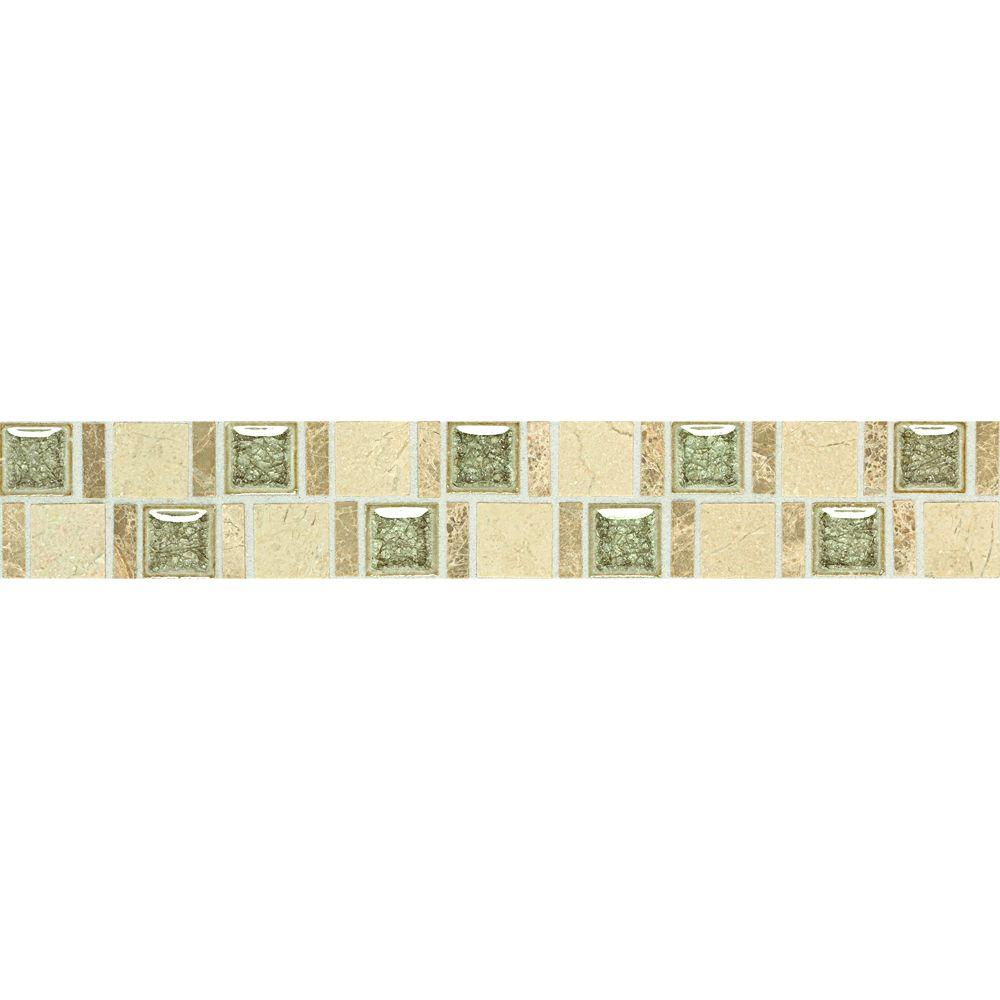 Daltile Stone Decorative Accents Crackle Fantasy 1-7/8 in. W x 12 in. L Marble with Crackled Glass Accent Wall Tile