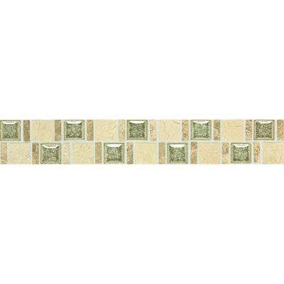 Stone Decorative Accents Crackle Fantasy 1-7/8 in. W x 12 in. L Marble with Crackled Glass Accent Wall Tile