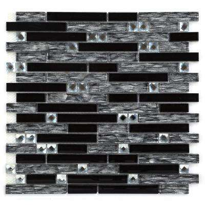 CHENX 11.81 in. x 12.40 in. Glass Backsplash in Black (11.18 sq. ft./case)