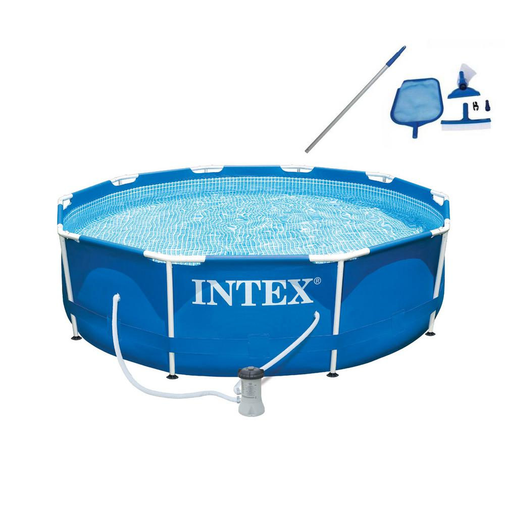 Intex 10 ft. x 30 in. Deep Metal Frame Round Swimming Pool with ...