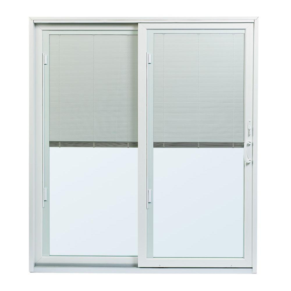 andersen 70 12 inx79 12 in 200 series white left hand perma shield gliding patio door with built in blinds and white hardware psbbglwh the home depot - Blinds For Patio Doors