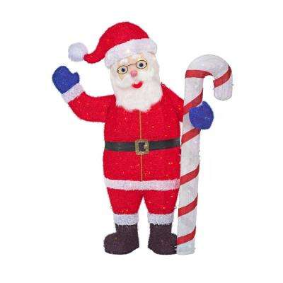 60 in. Christmas Warm White LED Santa with Candy Cane - Santa - Christmas Yard Decorations - Outdoor Christmas Decorations