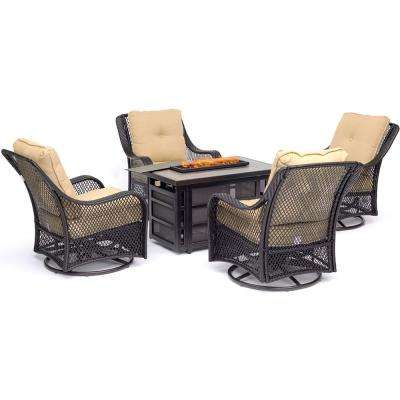 Orleans 5-Piece Wicker Patio Fire Pit Seating Set with Sahara Sand Cushions