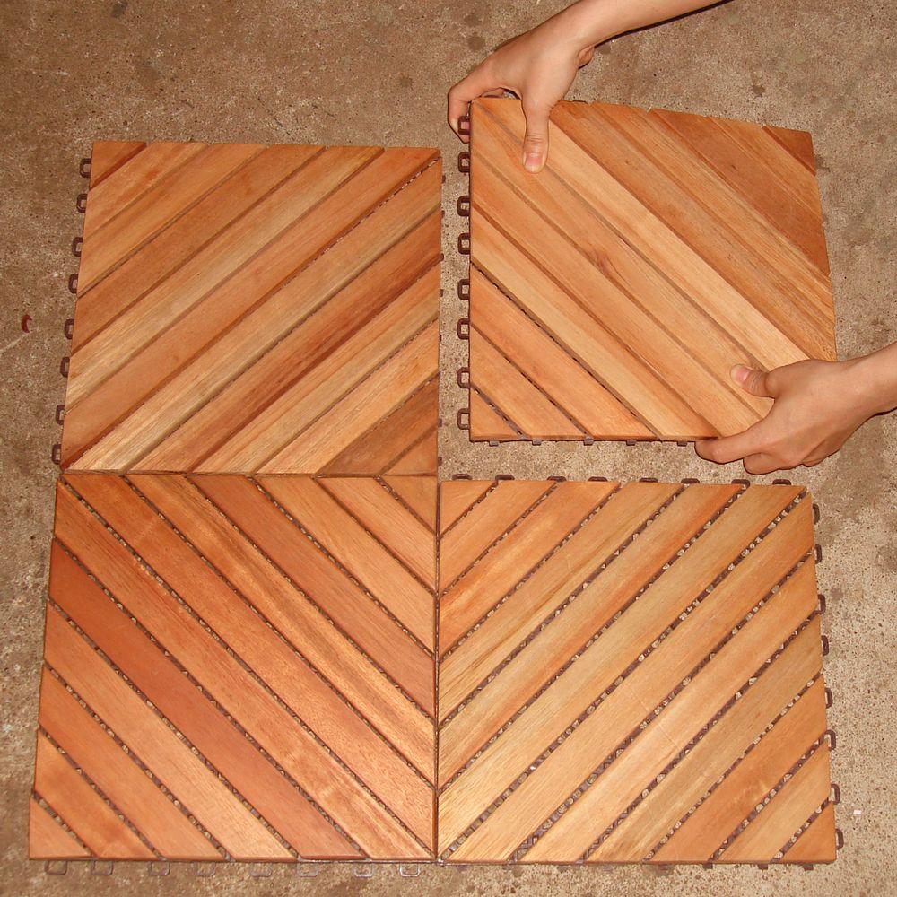 Vifah roch 12 diagonal slat style hardwood deck tile the home depot - Exterior wood floor paint style ...