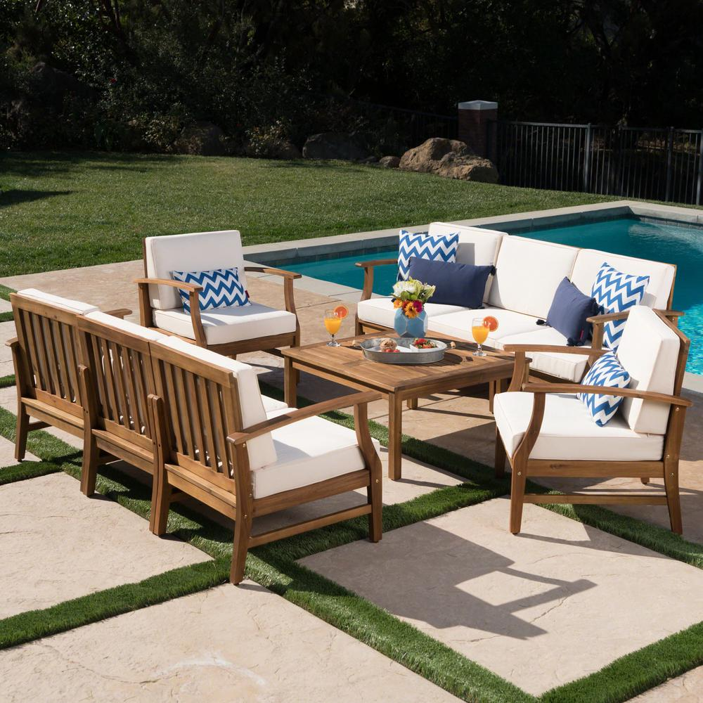 Noble House Giancarlo Teak 9-Piece Wood Outdoor Sofa Set ... on Outdoor Loveseat Sets id=75589