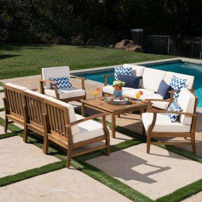 Giancarlo Teak 9-Piece Wood Outdoor Sofa Set with Cream Cushions