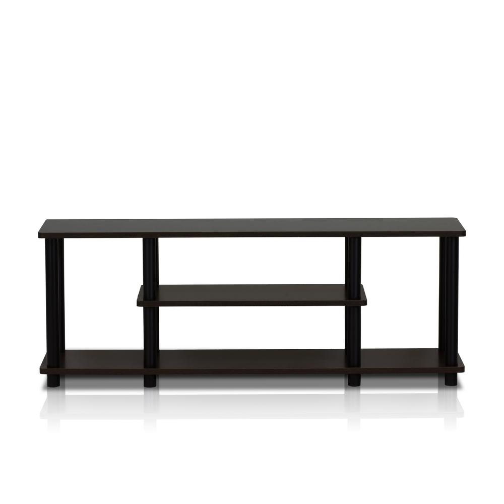 Furinno Turn-N-Tube Walnut and Black Shelved Entertainment Center