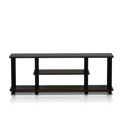 Turn-N-Tube 44 in. Walnut and Black Particle Board TV Stand Fits TVs Up to 55 in. with Cable Management