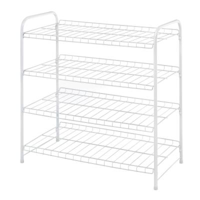 2.4 in. H x 12.8 in. W x 24.2 in. D 4-Tier White Metal Closet Shelf
