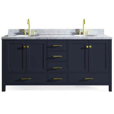 Cambridge 73 in. W x 22 in. D Vanity in Midnight Blue with Marble Vanity Top in Carrara White with White Basin